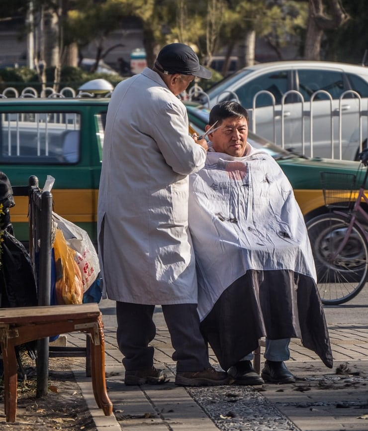 haircut in a park in china