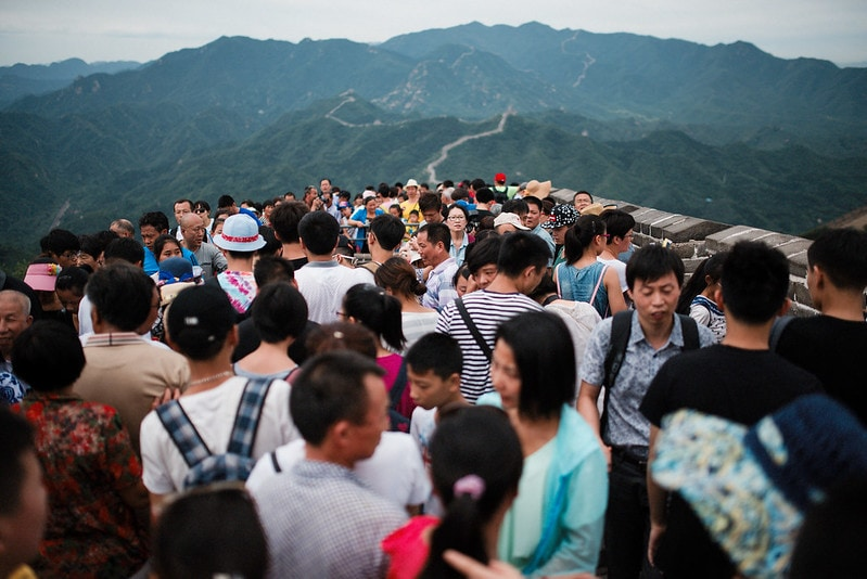 crowd at the great wall