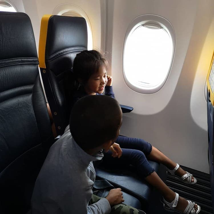 6 to 10 year olds in plane