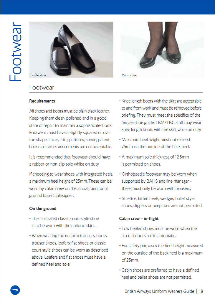 british airways shoes guidelines
