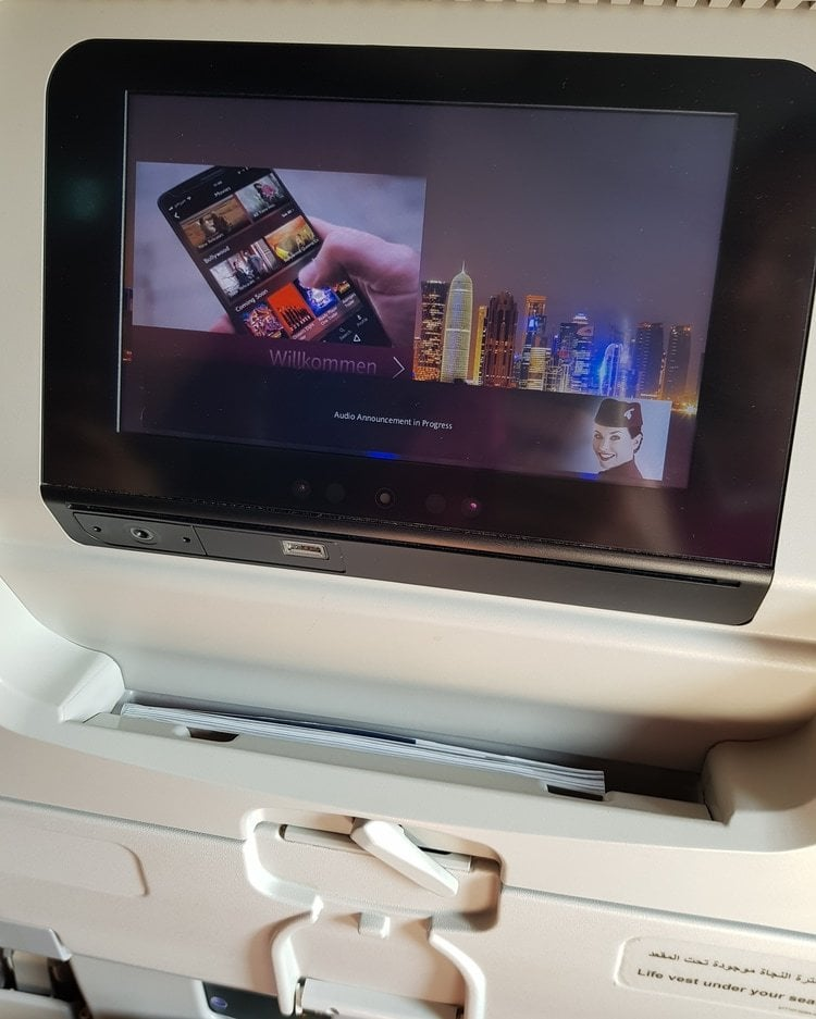 entertainment screen in plane