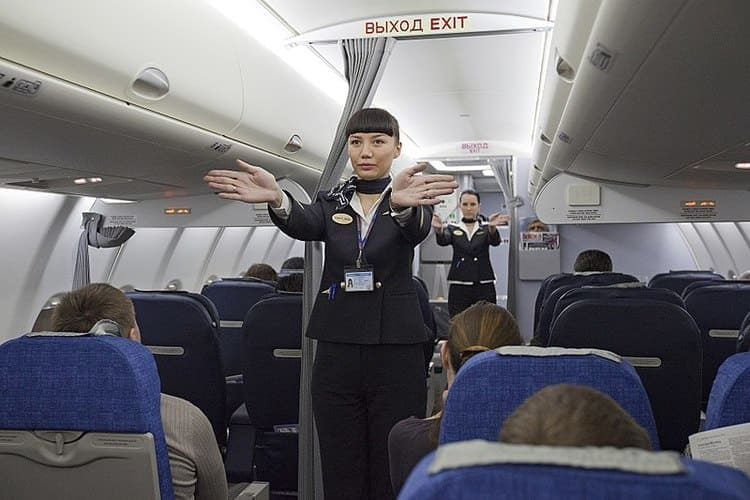 flight attendant safety demonstration