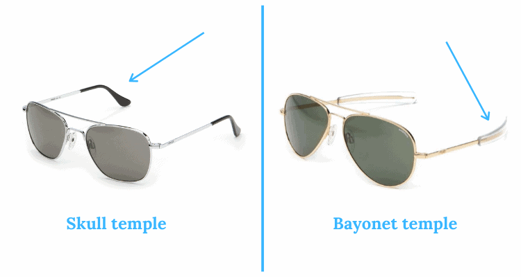 bayonet temples skull temples differences