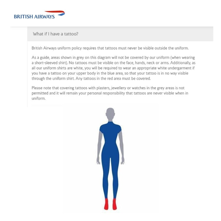 british airways tatoo policy
