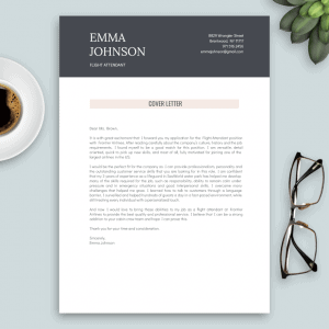 cover letter template for flight attendant (rose and grey)