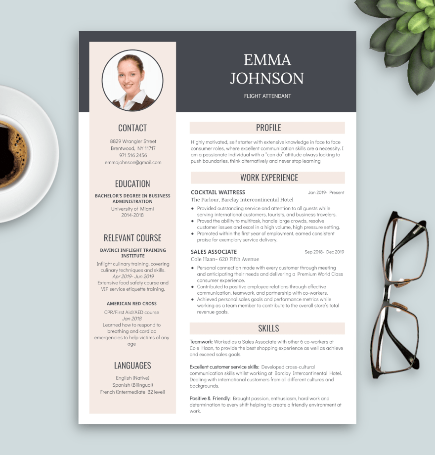 cv flight attendant template rose and grey with photo