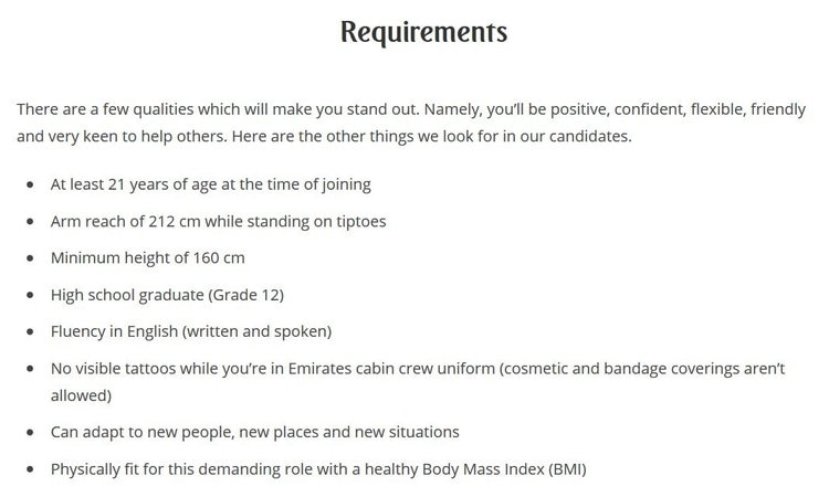 emirates requirements