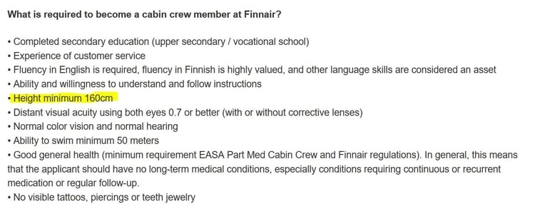 finnair height requirements