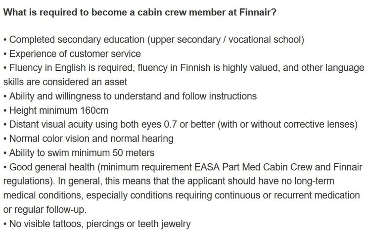 finnair requirements